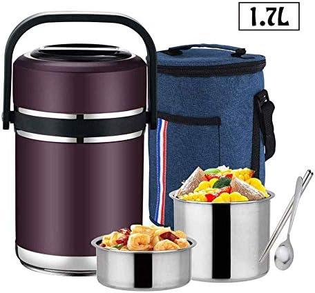 バッグとスプーン1.7Lと保冷ランチボックス、ステンレス製真空断熱旅行食品缶、