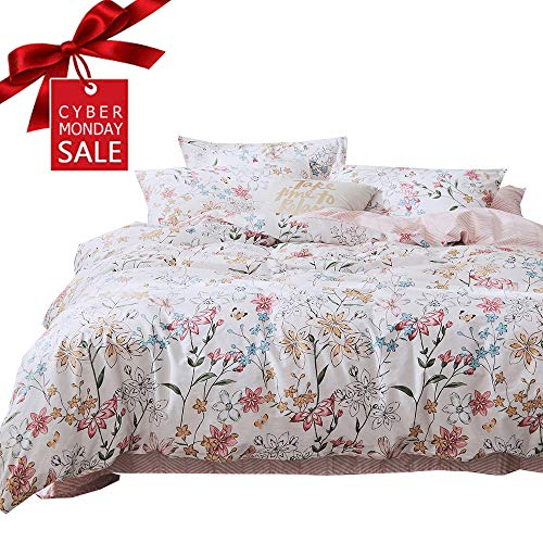 【NEWEST】Flower Floral Bedding Duvet Cover Set Twin with Zipper Closure Corner Ties Cotton White Grey for Girls Children Kids Women Bedding Set Reversible Summer Queen Duvet Cover Set,NO Comforter -