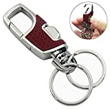 Lancher Key chain with (2 Extra Key Rings and Gift Box) Heavy duty car keychain for Men and Women -Rose
