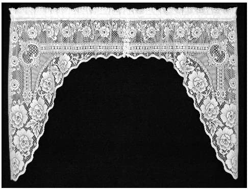 Heritage Lace Victorian Rose 60-Inch Wide by 48-Inch 34-Inch Drop 1-Piece Swag, Ecru