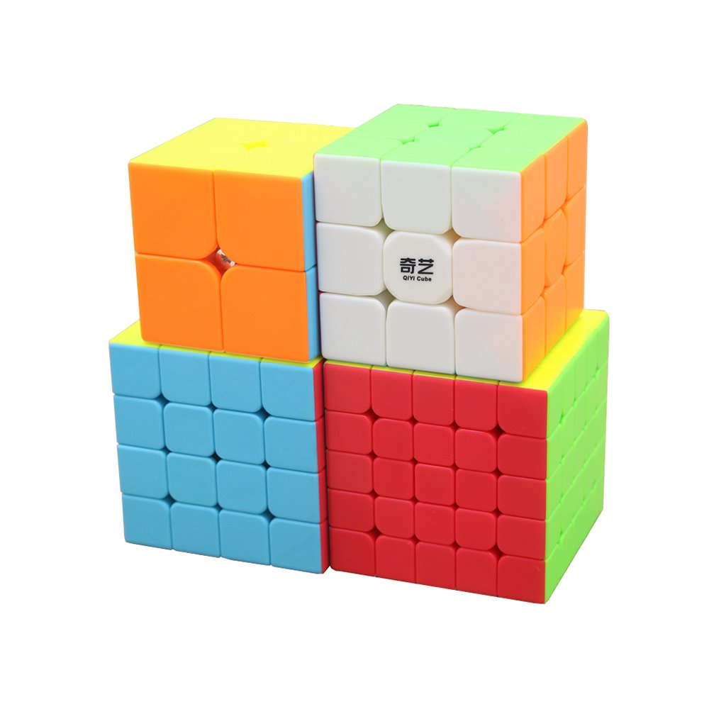 4 Pack I-xun Speed Magic Cube Set of 2x2 3x3 4x4 and 5x5 Stickerless Puzzle Cube Bundle