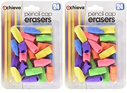 Officemate OIC Achieva Pencil Eraser Caps, 24 in a pack, Assorted Colors (30552) - 2 Packs