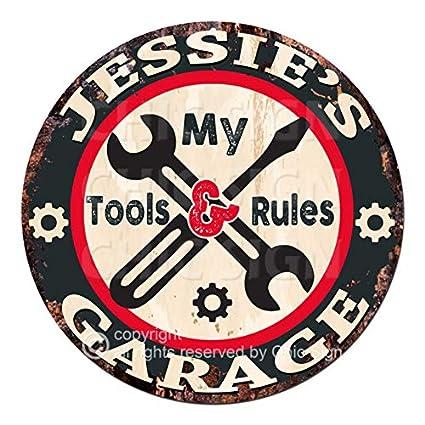 Amazon com: Jessie'S My Tools My Rules Garage Chic Tin Sign