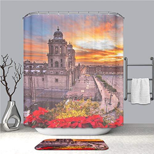 BEICICI Creative Shower Curtain and Bath mat Rug Metropolitan Cathedral Christmas Zocalo Mexico City Sunrise Mexico Custom Stylish,Waterproof,Mildew Proof Bathroom Set