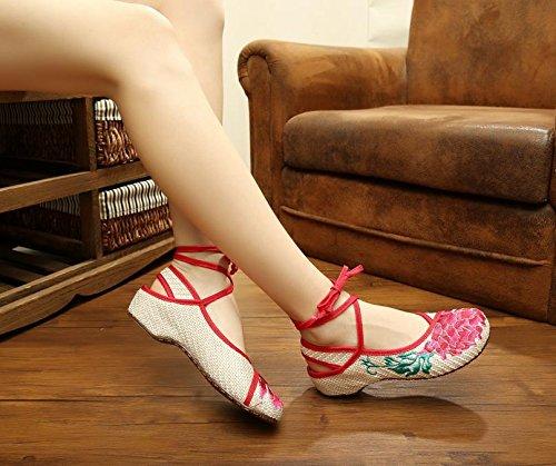 WXT Loto rojo Zapatos bordados, lenguado de tendón, estilo étnico, hembrashoes, moda, cómodo beige red edge