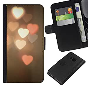 Planetar® Modelo colorido cuero carpeta tirón caso cubierta piel Holster Funda protección HTC One M9 ( Heart Lights Blurry Pink White Night )