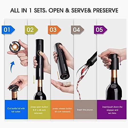Abrebotellas de vino eléctrico, juego de regalo de sacacorchos Mafiti alimentado por batería, incluye cortador de aluminio, tapones de bomba de vacío de vino, aireador de vino (juego de regalo 4 en 1)