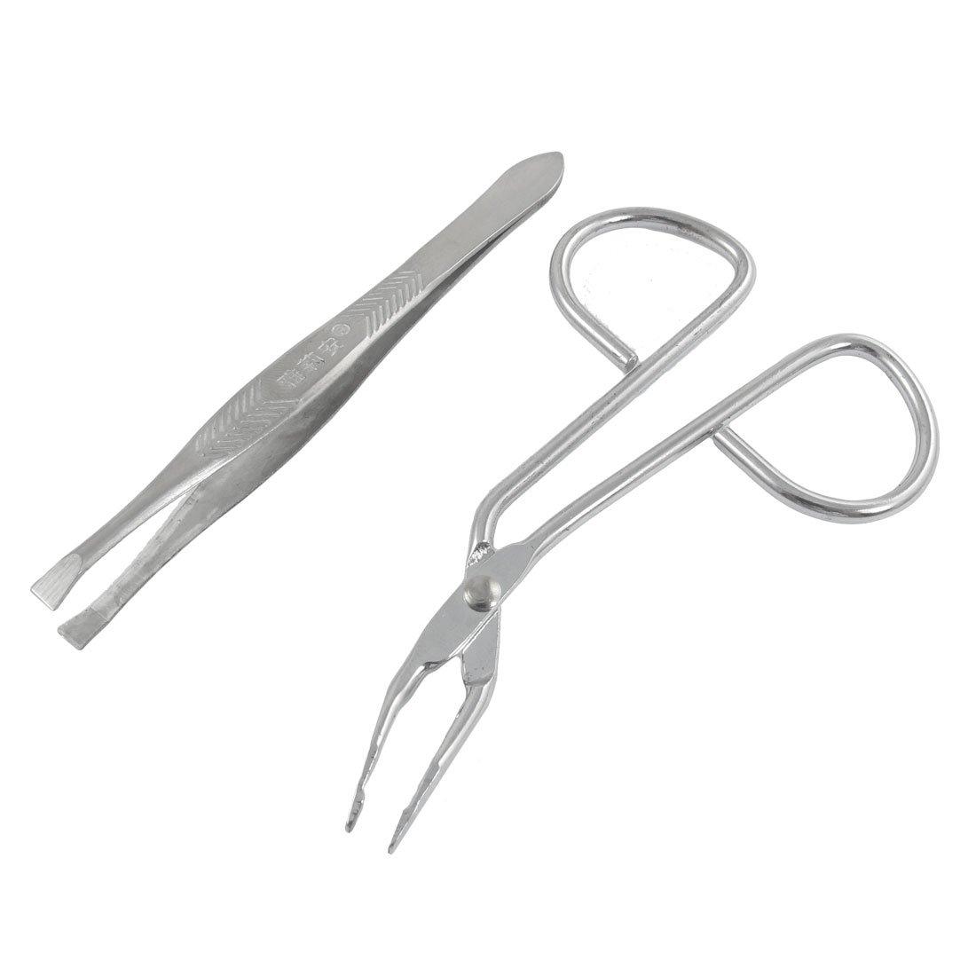 uxcell Silver Tone Flat Tip Tweezers Eyebrow Scissors Beauty Tool Set a12071300ux0602
