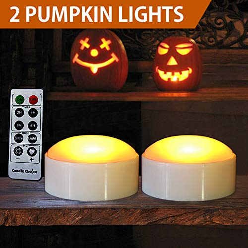 HOME MOST Halloween Pumpkin Lights with Remote and Timers - Orange Pumpkin Lights Battery Operated Halloween Decor - LED Lights Halloween - Jack-O-Lantern LED Lights Halloween Pumpkin Lights Battery ()