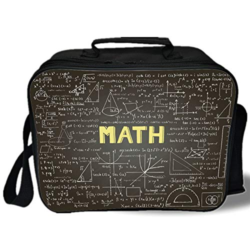 Mathematics Classroom Decor 3D Print Insulated Lunch Bag,Dark Blackboard Word Math Equations Geometry Axis Decorative,for Work/School/Picnic,Dark Brown White Yellow