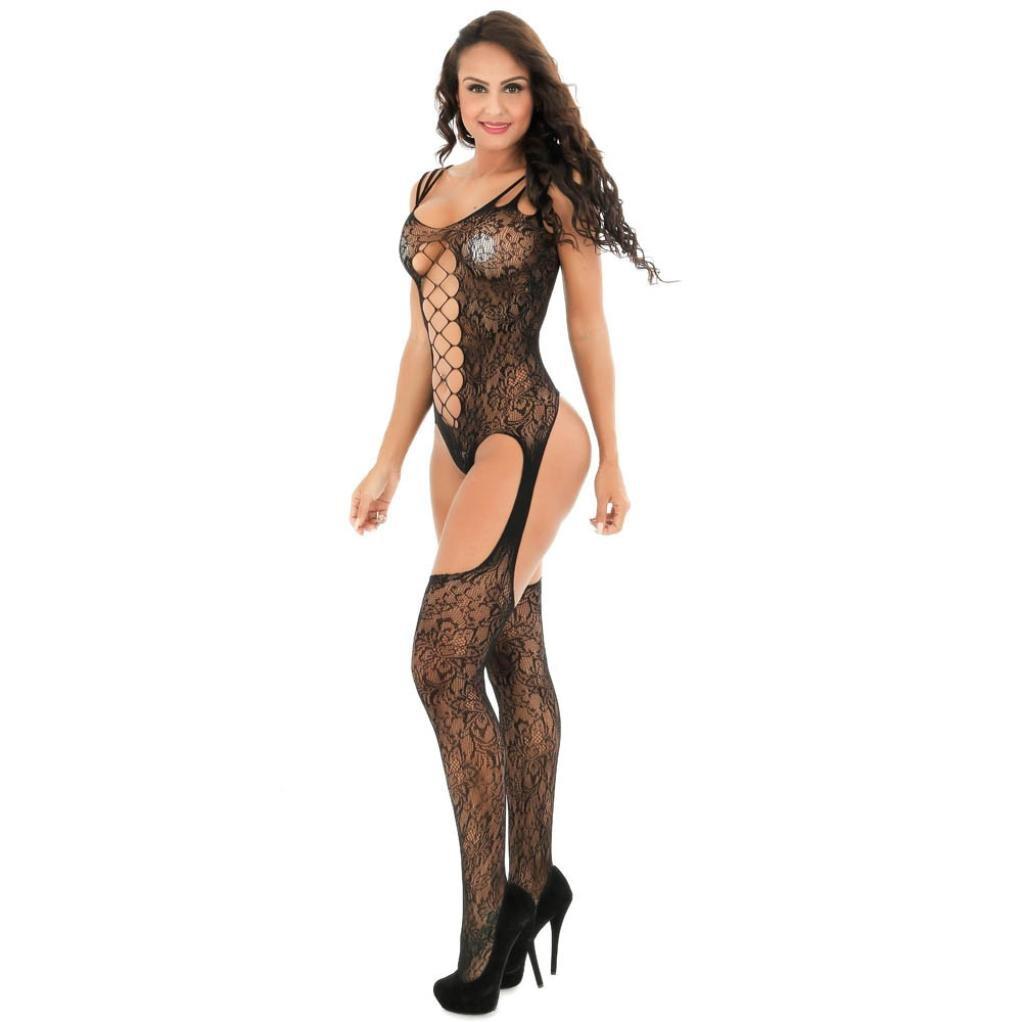 c1609063bb Amazon.com  Sumen Women Fishnet Open Crotch Bodystockings Lingerie  Crotchless Bodysuit (Black -2)  Clothing