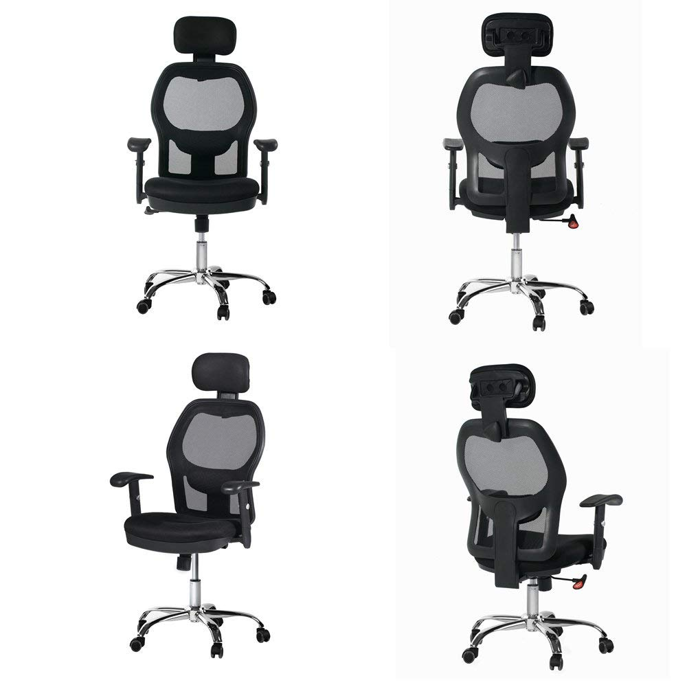 Winmi High Back Mesh Ergonomic Office Chair with Headrest and Armrest, 360 Degree Swivel Executive Computer Desk Task Chair,Back Lumbar Support, Black by Winmi (Image #5)