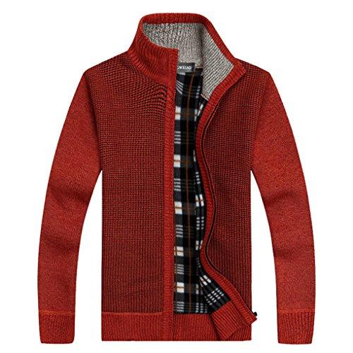 Shengweiao Men's Zip Knitted Cardigan Sweater