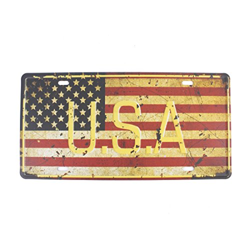 6x12 Inches Vintage Feel Rustic Home,bathroom and Bar Wall Decor Car Vehicle License Plate Souvenir Metal Tin Sign Plaque (U.S.A National Flag) (Usa License Plates Plaque)