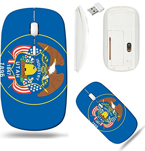 Liili Wireless Mouse White Base Travel 2.4G Wireless Mice with USB Receiver, Click with 1000 DPI for notebook, pc, laptop, computer, mac book The Flag of the American State of Utah IMAGE ID ()