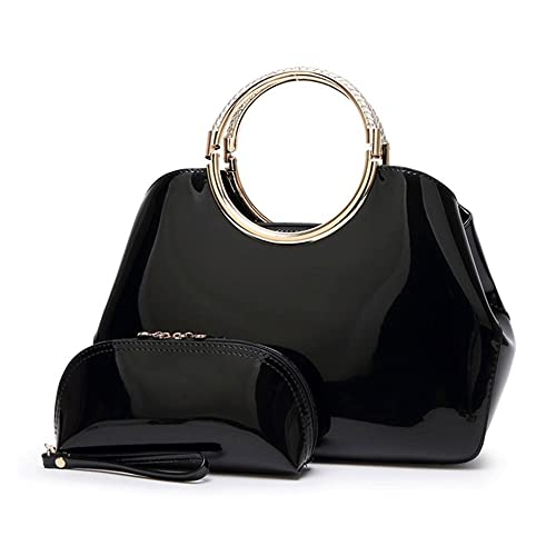 1dd40a08094 Mufly Womens Patent Top Handle Bags Stylish Tote Bag with Purse Fashion  Patent Leather Messenger Bag