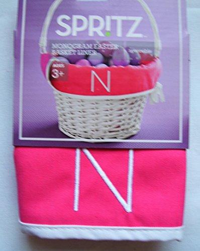 Spritz, Monogram Easter Basket Liner, Pink,