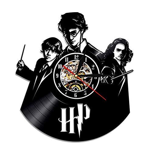 UL Harry Potter Reloj De Pared De Disco De Vinilo Cuarzo Creativo Retro para Sala De Estar Dormitorio Hogar Decoración