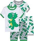 shelry Boys Dinosaur Pajamas Summer Children 4 Piece Cotton Pjs Set Toddler Kids Sleepwear Size 2T