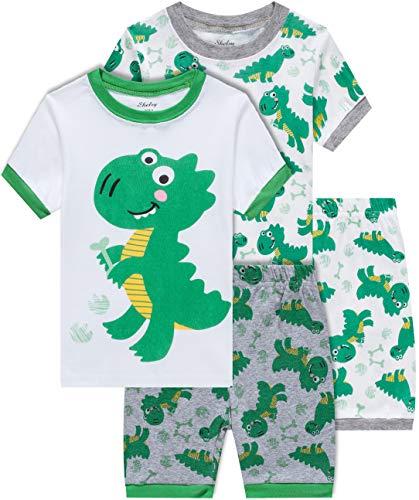 shelry Boys Dinosaur Pajamas Summer Children 4 Piece Cotton Pjs Set Toddler Kids Sleepwear Size 12-18 Month]()
