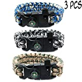 3 PCs Survival Paracord Bracelet Set for Men Women with Compass, Emergency Whistle, Fire Starter – Camo Parachute Cord -Tactical Gear Bracelets for Fishing, Hiking, Hunting, Camping Accessories