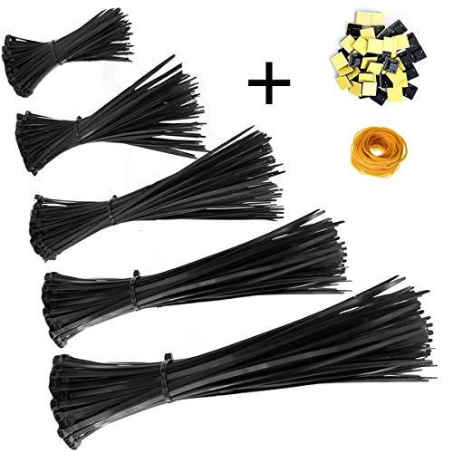 Honyear™ Zip Ties 500 Pcs Nylon Cable Zip Ties with Self-Locking 4/6/8/10/12 Inch, Black, UV Resistant, Heavy Duty by Honyear