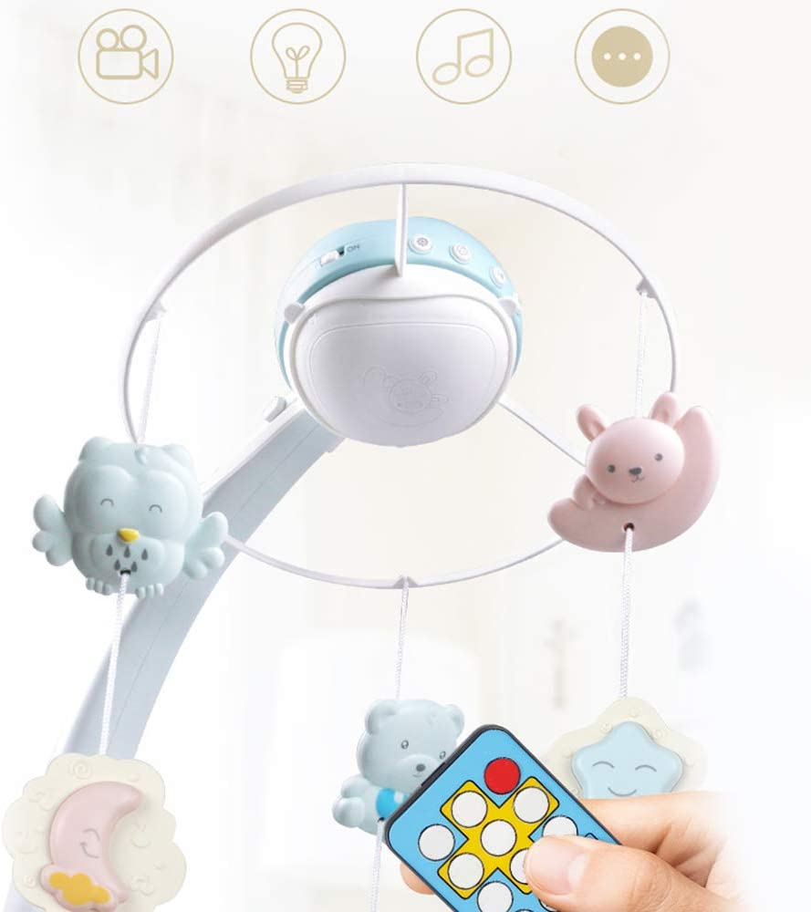 Pink QCUTEP Baby Musical Crib Mobile Upgrade Infant Bed Decoration with Sky Projector Night Lights Rotating Rattles Remote Control Music Box 3 In 1