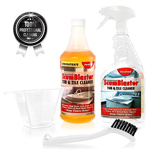 ForceField ScumBlaster Bathroom Cleaner Bundle - Industrial Strength - Tile and Grout Cleaner & Shower Soap Scum Remover - Quickly Remove Hard Water Stains, Mold and Mildew and Even Rust Stains
