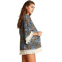 Umgee Women's 3/4 Sleeve Tribal Print Kimono Fringe Cardigans Tops Blouse A2360