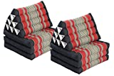 Double Lounge Pack: 2x Triangle 3-Fold Mat (67x20) Thai Triangular Pillow Set 100% Kapok Filling Cushion Black & Red Floorcushion