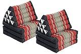 Double Lounge Pack: 2x Triangle 3-Fold Mat (67x20) Thai Triangular Pillow Set 100% Kapok Filling Cushion Black & Red Floorcushion