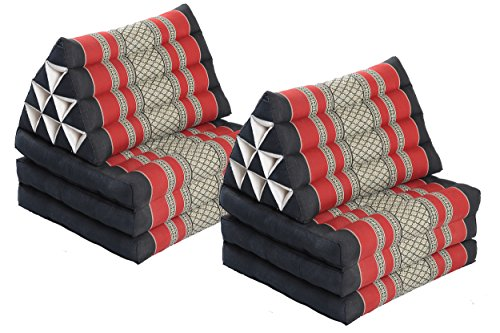 Double Lounge Pack: 2x Triangle 3-Fold Mat (67x20) Thai Triangular Pillow Set 100% Kapok Filling Cushion Black & Red Floorcushion from Handelsturm