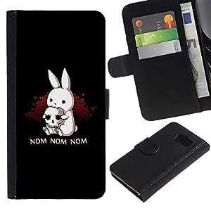 LECELL--Cuero de la tarjeta la carpeta del tirón Smartphone Slots Protección Holder For Samsung Galaxy S6 -- Nom Nom Conejito malvado --
