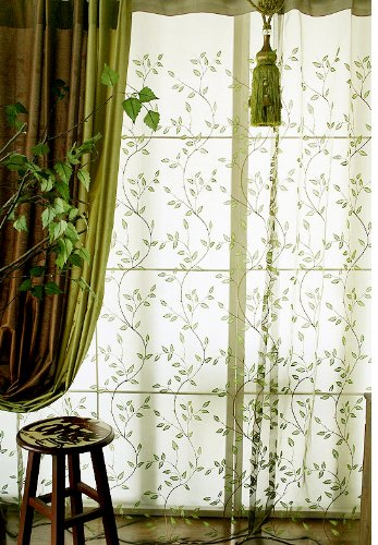 Elleweideco Decorative Modern Embroidered Green Leaf Sheer