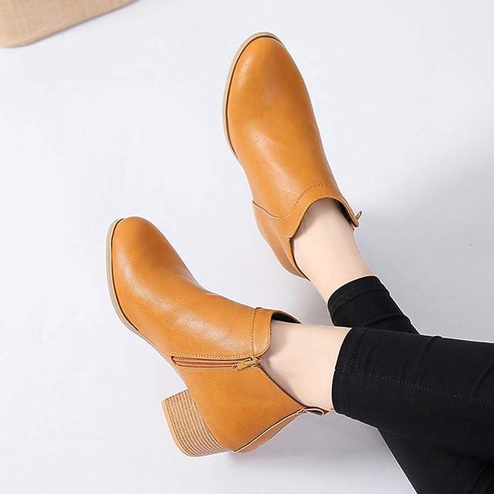 Moda De La Mujer Vintage De Tacón Grueso Talón De Arranque Corto Botines Botines Botas Zapatos,Beikoard 2018 Zapatos Del Talón Del Alto Talón: Amazon.es: ...
