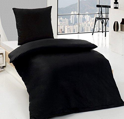 2 tlg. Biber 100% Baumwolle Winter Bettwäsche ,135x200 + 80x80 in UNI mit Reißverschuss Winterbettwäsche Dreamhome24 40x80 Kissenbezug, Variante:SCHWARZ