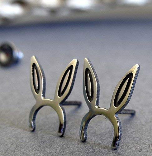 Bunny rabbit ears stud earring polished sterling silver post jewelry. Handmade in the USA