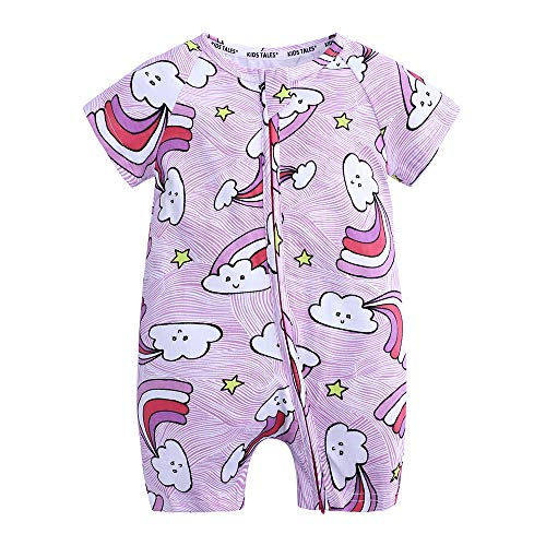 Kids Tales Baby Girls Short Sleeve Cotton Pajamas Infant Rainbow Zipper Romper