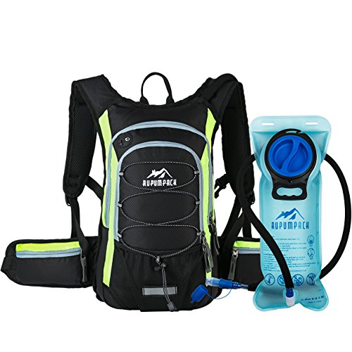 RUPUMPACK Insulated Hydration Backpack Pack with BPA Free 2L Water Bladder - Keeps Liquid Cool up to 4 Hours, Prefect Outdoor Gear for Hiking, Running, Cycling, Camping, Skiing, 15L (Black + Yellow)