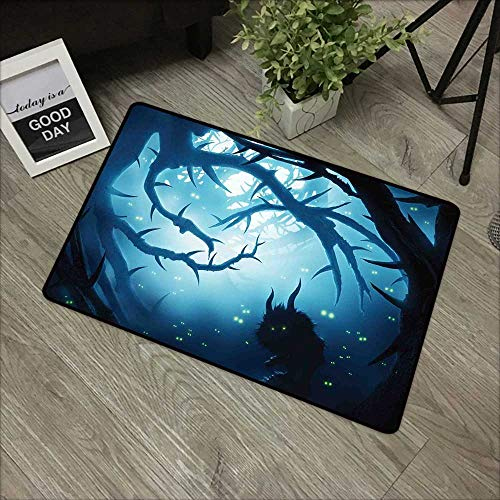 Outdoor door mat W35 x L47 INCH Mystic Decor,Animal with Burning Eyes in Dark Forest at Night Horror Halloween Illustration,Navy White Easy to clean, no deformation, no fading Non-slip Door -