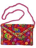 Craftgasmic ndian Rajasthani Elephant Sling bag Handmade Ethnic Vintage Banjara Clutch Cotton