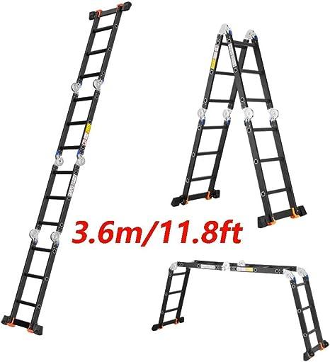 YLXBH Escalera telescópica de aleación de Aluminio, Elevador Combinado Multifuncional Plegable de Servicio Pesado 330 LB Capacidad 3,6 m (11,8 pies): Amazon.es: Hogar