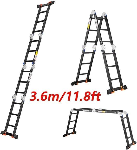 WSY Escalera telescópica de aleación de Aluminio, Elevador Combinado Multifuncional Plegable de Servicio Pesado 330 LB Capacidad 3,6 m (11,8 pies): Amazon.es: Hogar