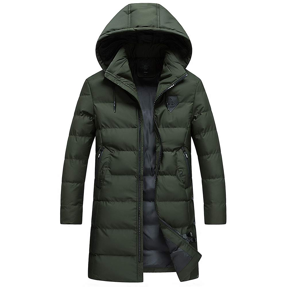 shengweiao Men's Winter Warm Coat Detachable Hood Thick Jackets