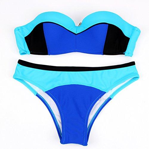 YONGYI Colisión del plano de color La Sra. stitching split bañador acero y reunir el bikini