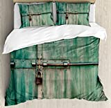 Ambesonne Industrial Duvet Cover Set King Size, Aged and Closed Door with a Lock Close up View in Retro Style Entrance Photo, Decorative 3 Piece Bedding Set with 2 Pillow Shams, Green Brown