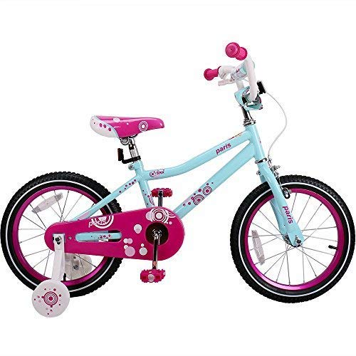 JOYSTAR 16 Inch for 4 5 6 7 Years Old Girl, Children Bicycle with Hand Brake & Training Wheels, 95% Assembled - Ice Blue