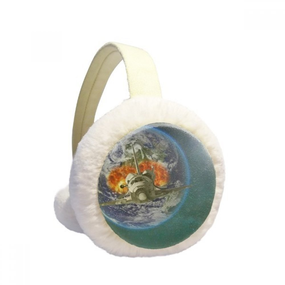 Earth Spacecraft Colorful Planets Winter Earmuffs Ear Warmers Faux Fur Foldable Plush Outdoor Gift