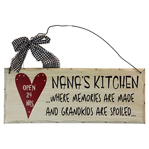 (Grace Home Wooden Wall Plaque. 'Nana's Kitchen Where Memories are Made and Grandchildren are Spoiled')