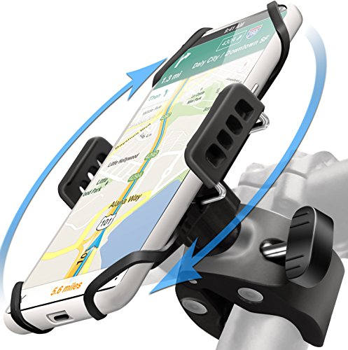 (Bike Phone Mount Holder: Best UNIVERSAL Handlebar Cradle for ALL Cell Phones & Bikes. Clamp Fits Road Motorcycle & Mountain Bicycle Handlebars. Cycling Accessories For iPhone X 8 7 6 Plus Galaxy ETC. )
